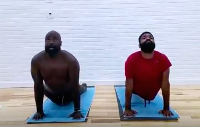 pic of men doing yoga 4 oil prep