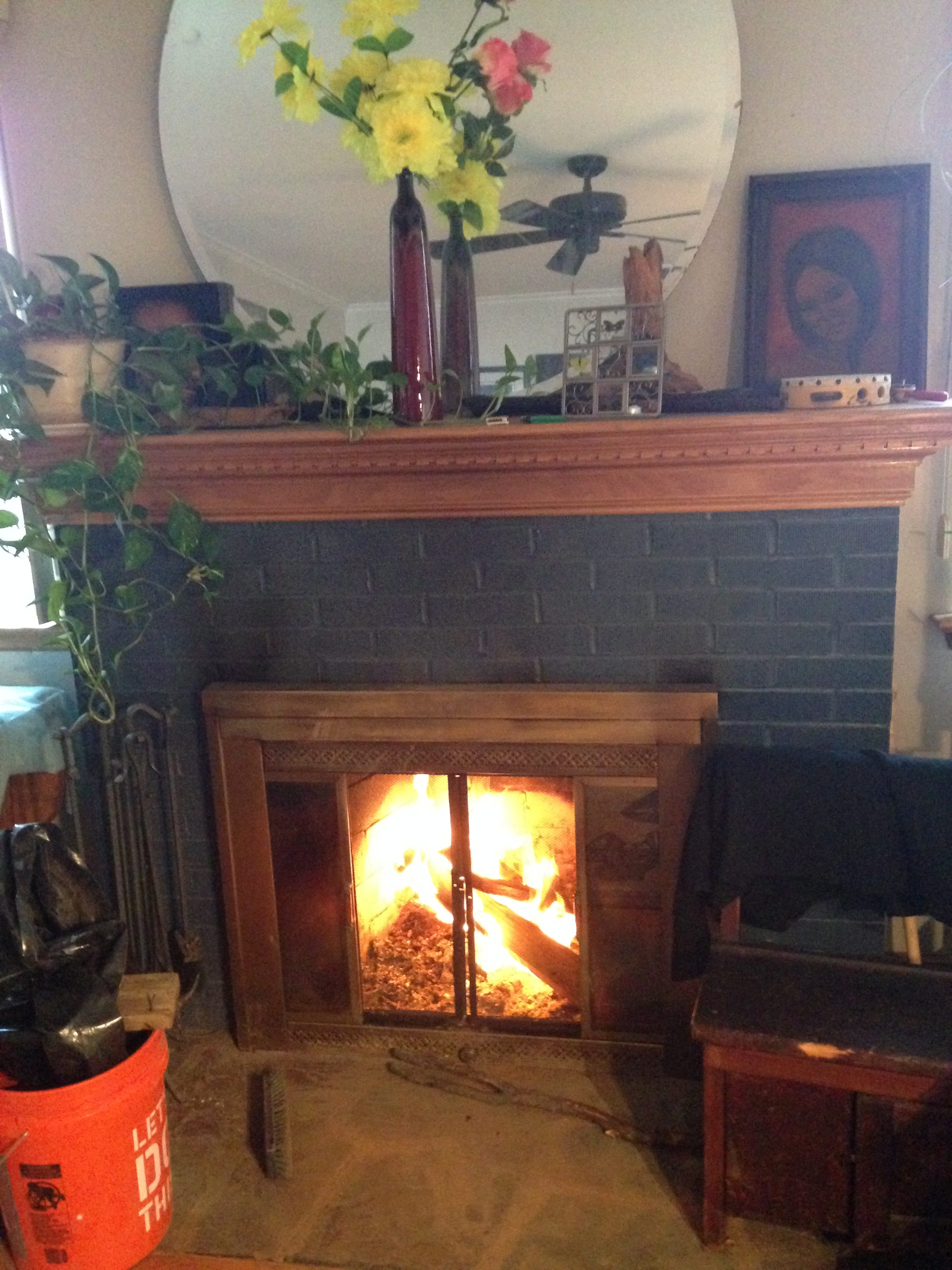 pic of fireplace. energetics inside. burn up excess