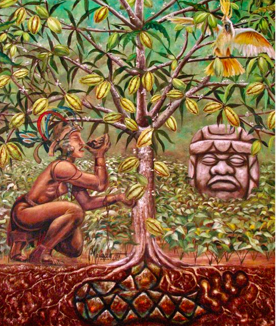 ptg of indigenous so. american with cacao tree