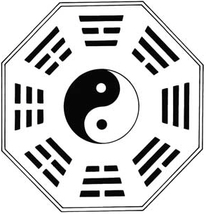 The eight Kua, trigrams from the I Ching, surrounding the elemental forces yin and yang